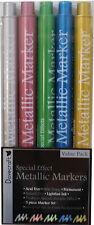 LOT 5 FEUTRE MARQUEUR MARKER METALLIC COULEUR SCRAPBOOKING CARTE DOUBLE POINTE