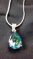 """BLUE RAINBOW TOPAZ PEAR DROP PENDANT + 17"""" CHAIN 18K WHITE GOLD FILLED  NEW"""