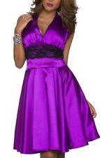 SeXy Damen Neckholder Satin Spitze Kleid Cocktail Dress 34/36/38 lila schwarz