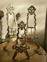 3x Vintage Ornate Brass Picture BooK Plate Easel Holder Display Stand Ornamental