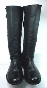 Anouk Handmade Riding Black Leather Boots 2 Straps Buckle Women US 10