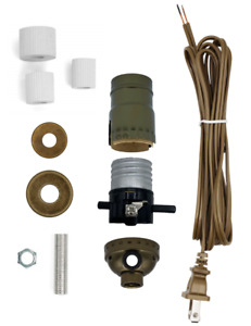 Antique Brass Make A Lamp Wiring Kit for Wine, Oil Bottle Lamp Conversion