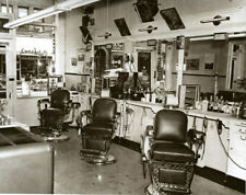 Vintage 1950 Barber Shop Old Time Barber Chairs Hair Tonics Mirrors Clippers WOW