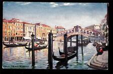 Tuck the Rialto Bridge gondola boats Venice Italy postcard