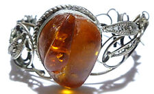 ANTIQUE OLD FILIGREE ORNATE STERLING SILVER BALTIC AMBER BANGLE BRACELET 7""
