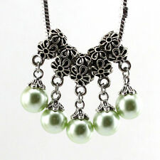 5pcs Tibetan silver pearl pendant spacer beads fit Charm European Bracelet Bf026