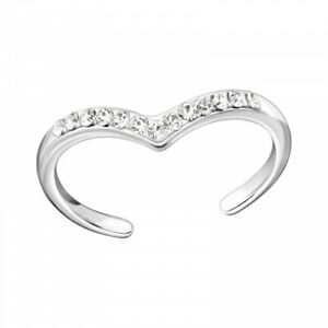 925 Sterling Silver Crystal Heart Toe Ring