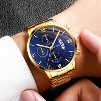 CUENA Men's Business Steel Belt Watch Three Eyes Six-Piece Calendar Quartz Watch