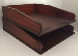 Vintage PAIR Solid Wood Oak? Accessory Trays Desk Organiser In / Out Box