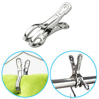 12Pcs Stainless Steel Beach Towel Clips Keep Your Towel From Blowing Away Pegs