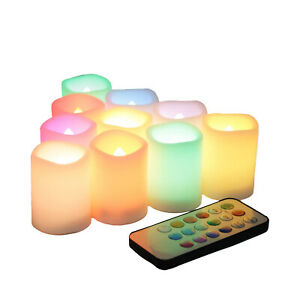 Set of 10 Color Changing, Multi-color Flameless LED Votive Candles with Remote