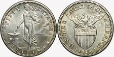1918-S US/Philippines 50 Centavos ~ AU ~ Allen#14.07 ~ 75% Silver ~ Upright S