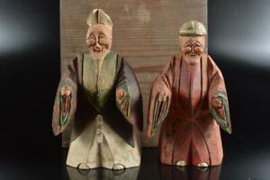 #5559: Japan Old Wooden Lacquer ware DOLL Statue Ornament Figurines Okimono 2pcs