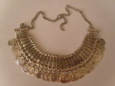 COIN NECKLACE,VINTAGE SILVER STYLE, GOOD WEIGHT. 19.5-21.5 NECK SIZE.NWOT