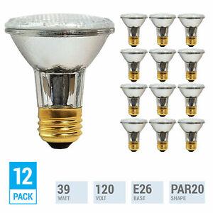 (12 Pack) 39PAR20 Flood 120V Halogen Bulb 39W 39 Watt PAR20 Dimmable Medium E26