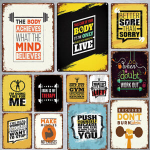 Fitness Poster Hanging Tin Plaque Retro Quote Vintage Metal Signs Home Decor