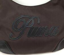 Puma Handbag Brown Raised Leather Logo On Zipper Inside Zipper Section Inside
