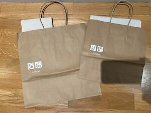New Set Of 2 Uniqlo Paper Shopping Bags & Tissue Paper
