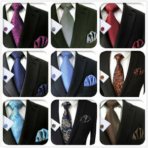 S&W SHLAX&WING Silk Mens Tie Set Necktie with Pocket Square Cufflinks