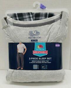 Fruit of the Loom Men's 2pc Sleep Set Breathable Mesh Top & Woven Pant Grays 2XL