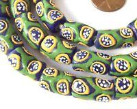 Ghana handmade Recycled glass Cylinder Cobalt Green African trade beads