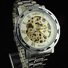 Winner Automatic Stainless Steel Skeleton Mechanical Watch White & Golden Face