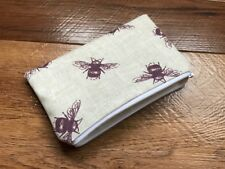 HANDMADE ZIPPED COIN PURSE MADE USING FRYETTS PURPLE BEES FABRIC