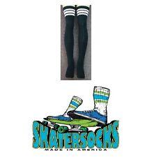 "Skater Socks 35"" Thigh High Striped Tube Socks Skate board Skating Derby Goth"