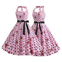 Women Ladies Retro Rockabilly Swing Dress 1950s 60s Vintage Pinup Dresses Summer