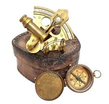 Antique Ship Sextant & Marine Brass Compass Nautical Leather Case Pocket Gift