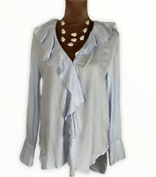 Zara Ruffle Strapy Boho  Elegant Button Up Shirt Blouse Size M Uk 10