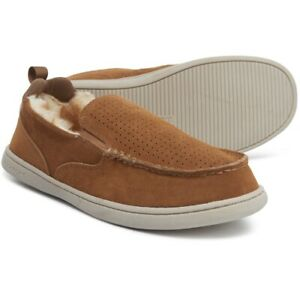 Rockport Men's Original Twin Gore Suede Sherpa Moccasin Slippers Brown All Sizes