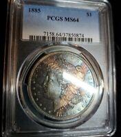 1885 Pcgs Ms64 Morgan Dollar monster toner!