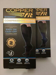Copper Fit Energy Compression Socks-1 Pair Easy On/Off L/XL Men 9-12 Women 10-13