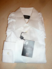 NEW $220+ IKE BEHAR Mens Dress SHIRT 16 37 White Made in CANADA 100% Cotton BC