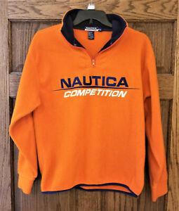 Vintage 90/'s NAUTICA Oversized Unisex Fleece Jacket Thermal Zip Sweatshirt Sleeve Logo size XL men