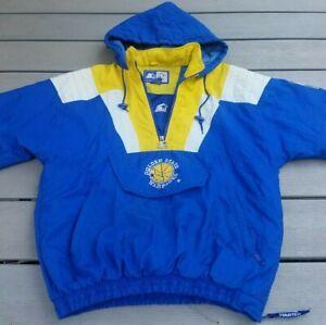 Starter Golden State Warriors Pullover Parka Jacket Vintage 90s Size S free ship