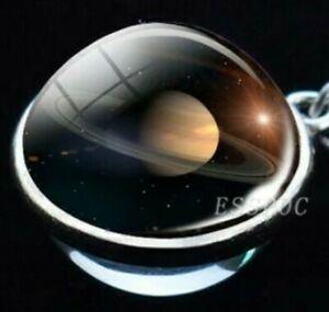 Halskette Kugel Saturn 3D Planet Galaxie Astronomie leuchtend Anhänger