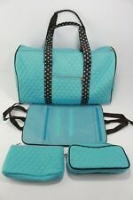 Teal Blue Brown Polka Dotted Large Duffel Gym Bag with Makeup Accessory Bag