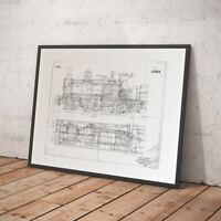 Steam Train Poster - Technical Drawing of NORTH BRITISH LOCOMOTIVE Engine - NEW