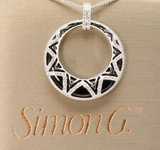 SIMON G Onyx 18k White Gold Diamond Pendant Necklace Wheat Chain MP1432 JEWELRY