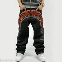 New Men's Jeans Embroidery Black Denim Pants Trousers Hip-Hop Streetwear W30-W44