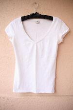 Weißes Basic Shirt mit V-Ausschnitt von Esprit, Größe XS