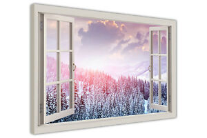 WINTER FOREST 3D WINDOW VIEW CANVAS WALL ART PRINTS POSTER LANDSCAPE PICTURES