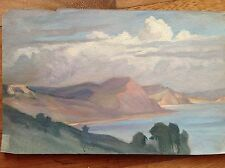Aquarelle couleurs fine '800 primi '900 panorama sul lac mer colline lointain