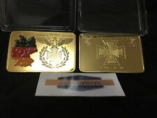 1 Troy Oz 24k Gold Clad Germany Bar Iron Cross WW2 WWII w/ Airtight case (A3)
