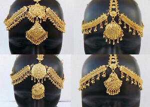Bollywood Golden Matha Patti Ethnic Indian Jewelry Fashion Head Decoration Tikka