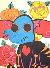Sugar Skull Elephant, Day of the Dead Art 9x12 Inch Drawing, Elephant Artwork
