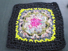 Kissen fertig Häkelkissen  Granny Square schwarz-pink-lime-grün-grau Vintage Art