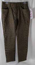 Women with Control Petite Animal Print Slim Leg Jeans Olive 6P